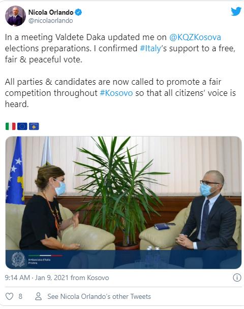 سفیر ایتالیا در کوزوو با داکا دیدار می کند ، خواستار رقابت عادلانه بین طرفین - پریسکوپ است